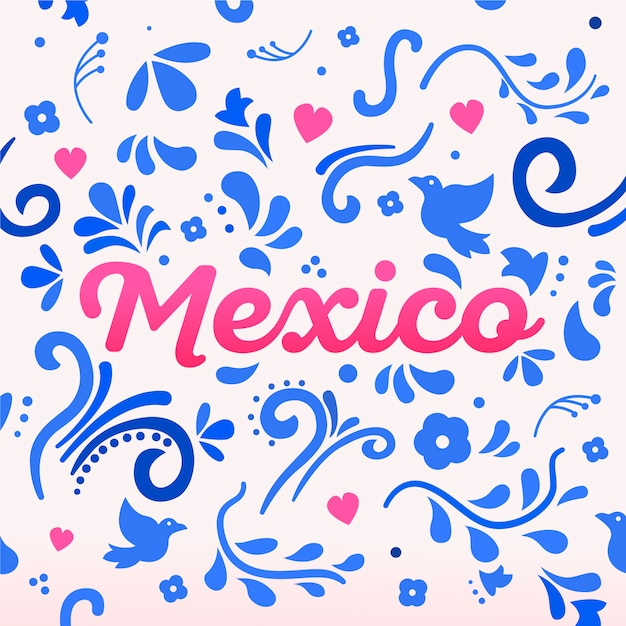 Colorful mexico lettering with ornaments Free Vector