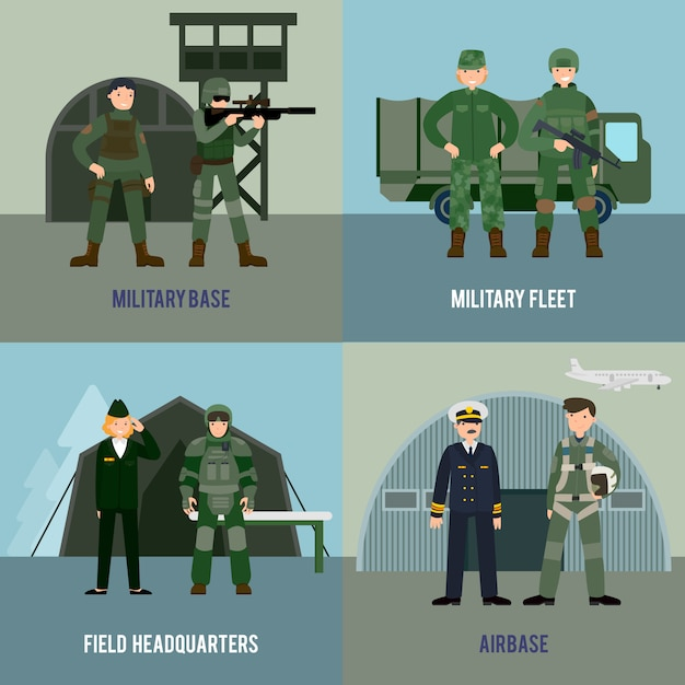 Colorful military square concept Free Vector