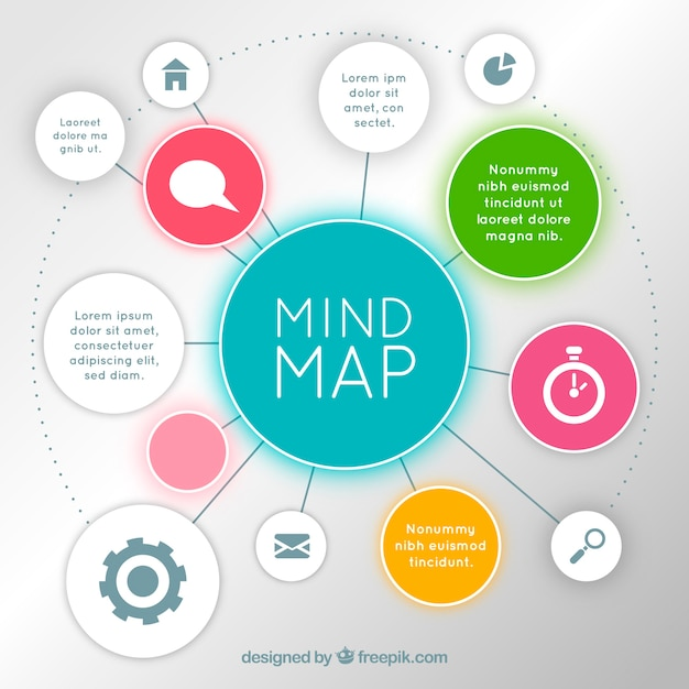 Colorful mind map with modern style Free Vector