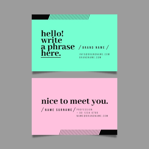 Colorful minimal business card pack template Free Vector