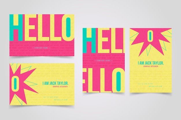Colorful minimal business card template Free Vector