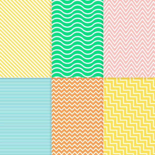 カラフルな最小限の幾何学模様コレクション 無料ベクター
