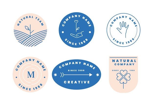 Colorful minimal logo collection in retro style Free Vector