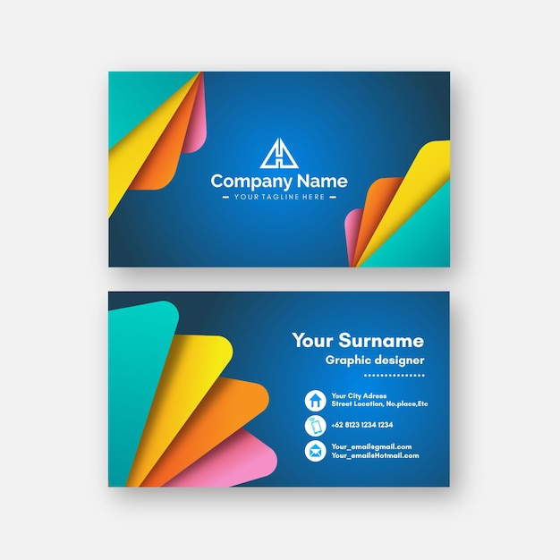 Colorful minimalist business card template Free Vector