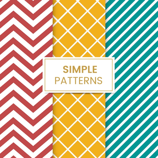Colorful mixed seamless pattern vector set Free Vector