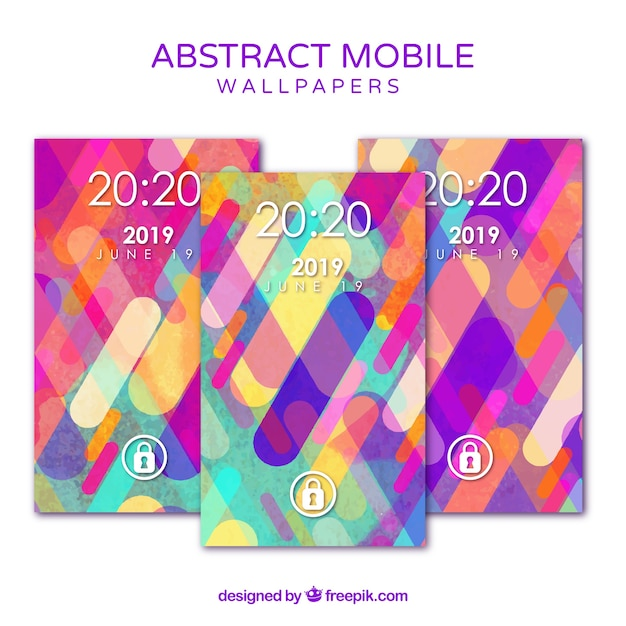 Colorful mobile wallpapers pack in flat design