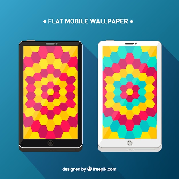 Colorful mobile wallpapers with hexagons