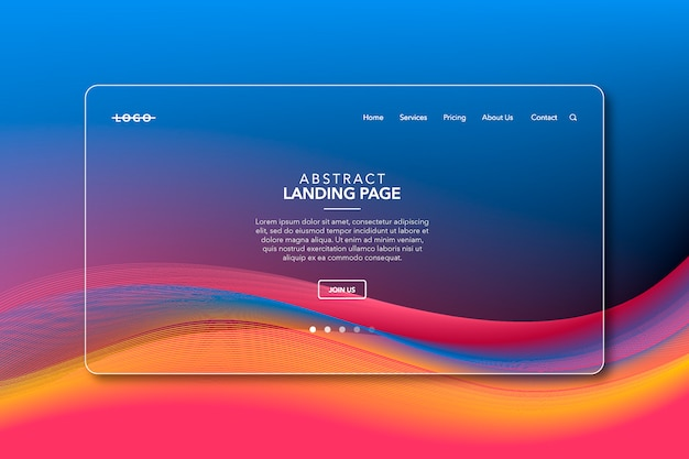Colorful modern abstract background landing page website Premium Vector