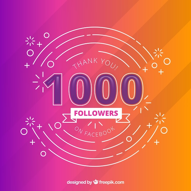 Colorful modern background of 1k followers