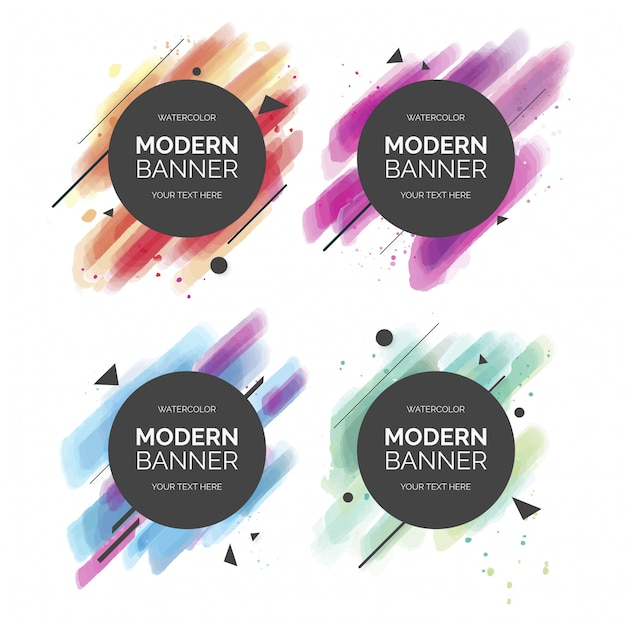 Colorful Modern Banner Collection Free Vector