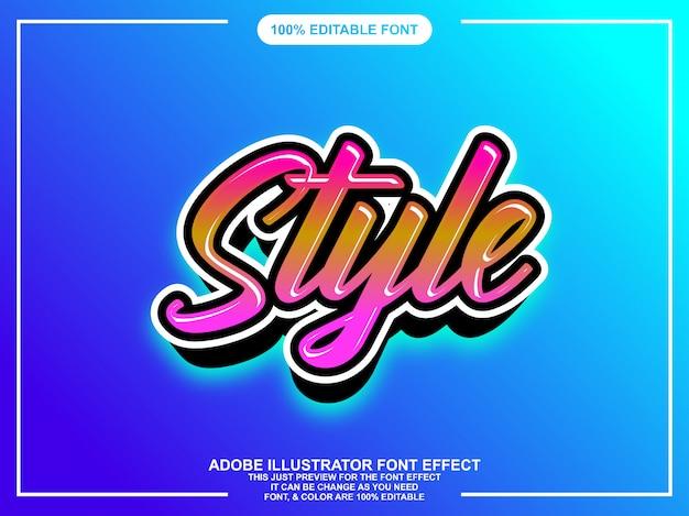Colorful modern brush script graphic style editable font Premium Vector