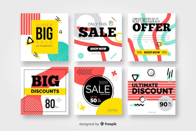 Colorful modern sales banners for social media Free Vector