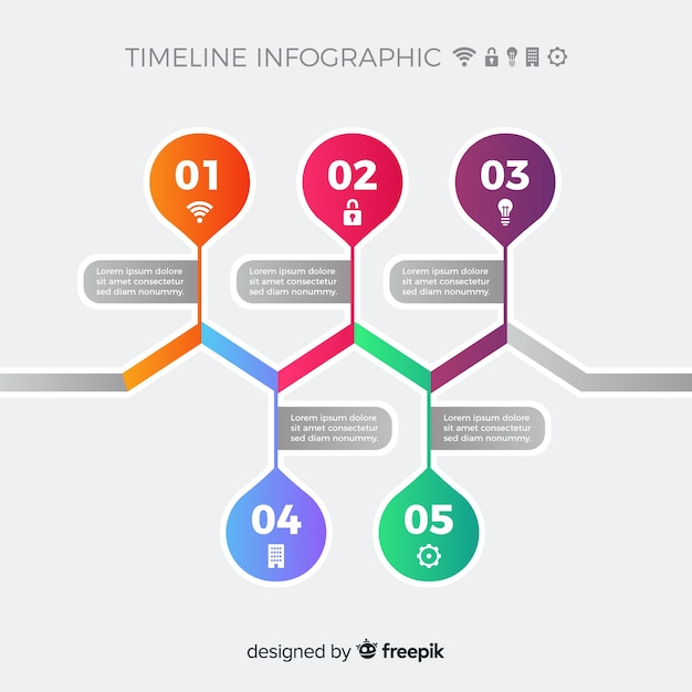 Colorful modern timeline infographic template Vector | Free