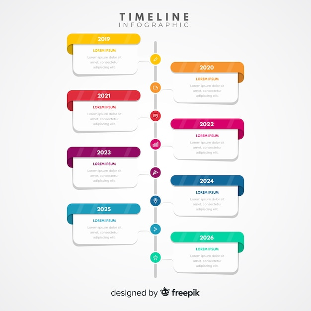 Colorful modern timeline infographic template Free Vector