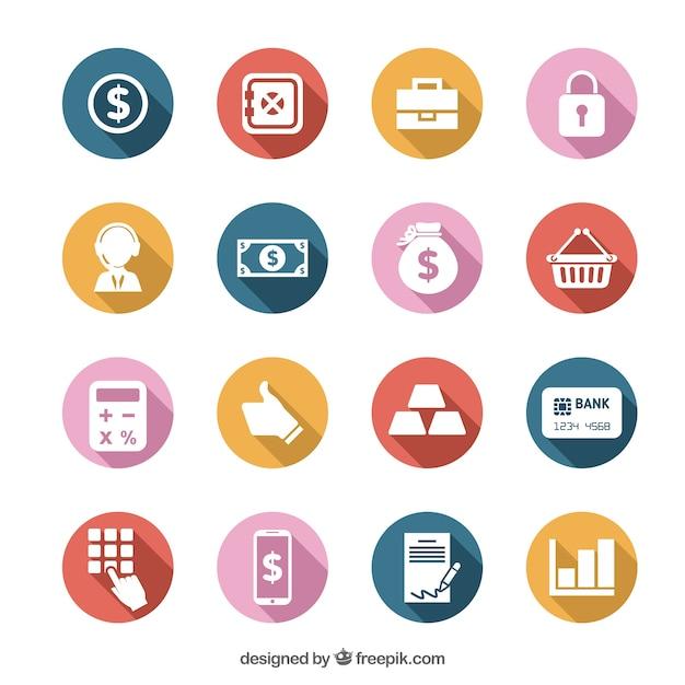 Colorful money icons set Premium Vector
