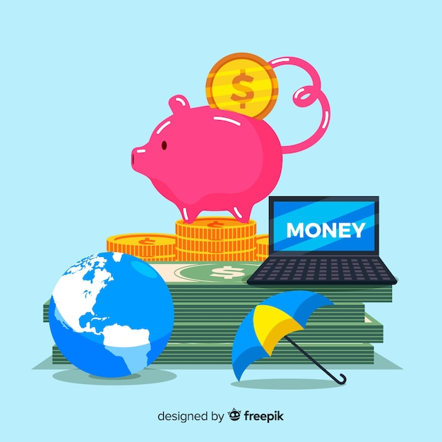 Colorful money saving background Free Vector