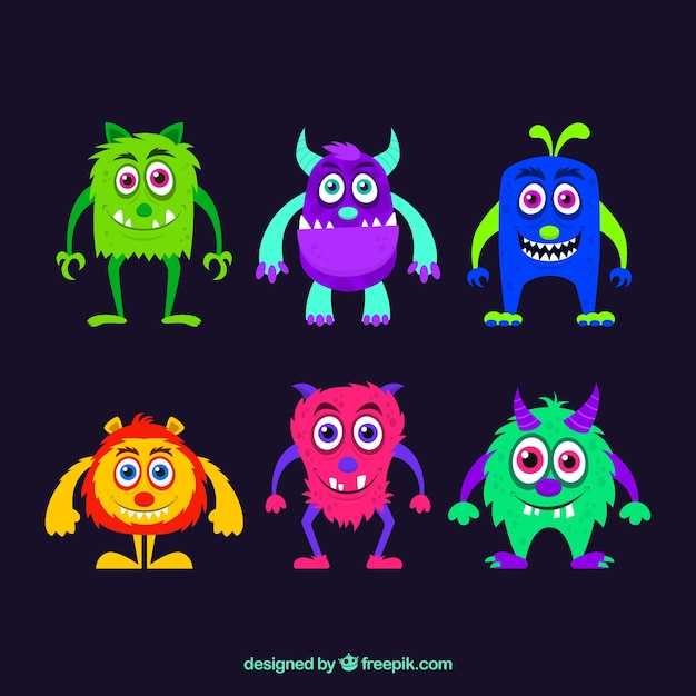 Colorful monster character designs Free Vector