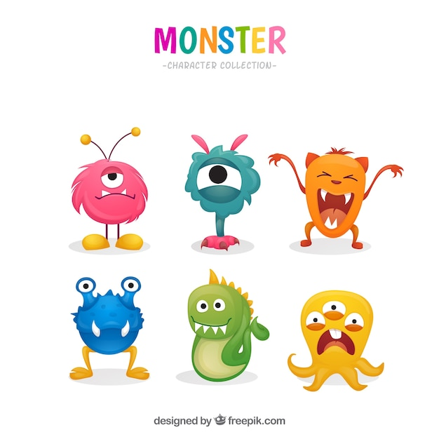 Colorful monsters collection Free Vector
