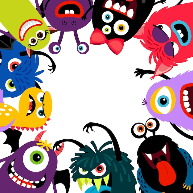 Colorful monsters frame card Premium Vector