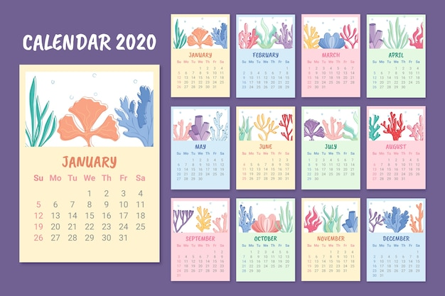 Colorful monthly 2020 calendar template Free Vector