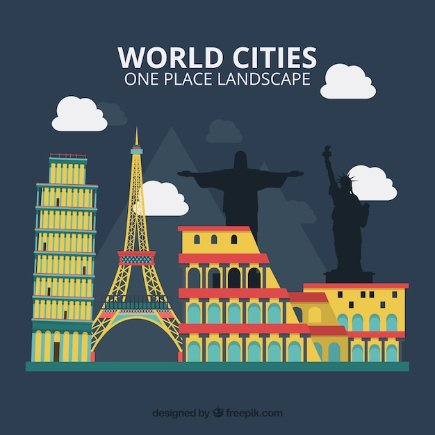 Colorful monuments of world cities