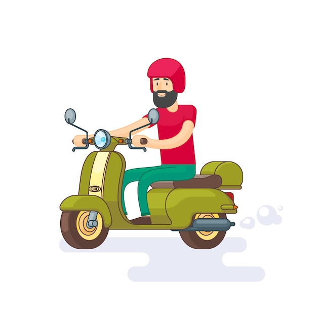 Colorful moped template Free Vector