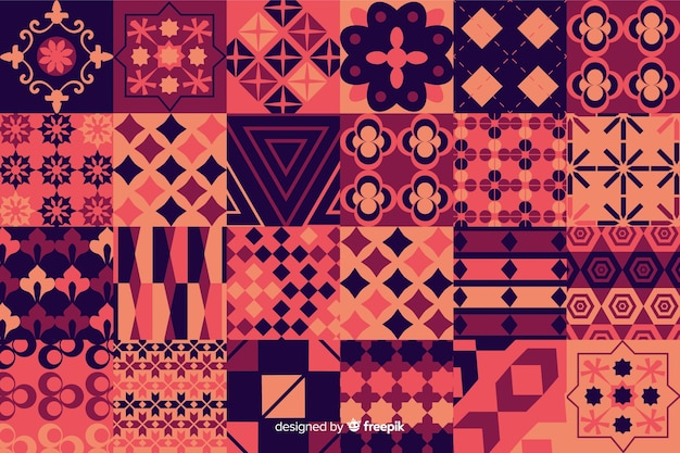 Colorful mosaic background with geometric shapes Free Vector