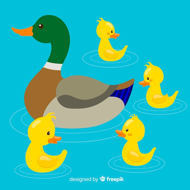 Colorful mother duck and ducklings Free Vector