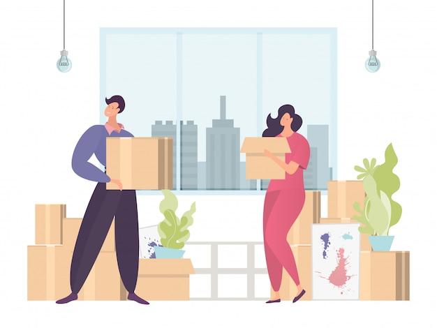 다채로운 이동 개념, 새로운 홈 오피스, 빠르고 편리한 배달, 디자인, 만화 일러스트 레이 션에 상자를 운반. 프리미엄 벡터