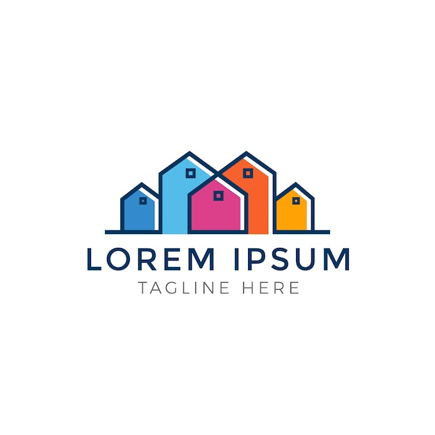 Colorful multicolored real estate logo design Premium Vector