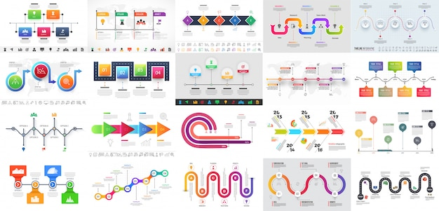 Colorful multiple levels timeline infographic Premium Vector