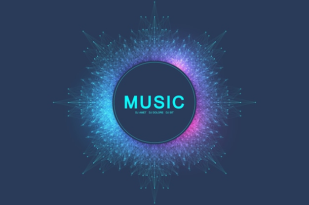 Colorful music and dance night party banner or poster. background with fractal grid, radial sound wave, equalizer. illustration. Premium Vector