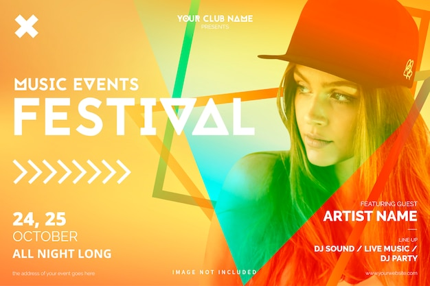 Colorful music event poster template Free Vector