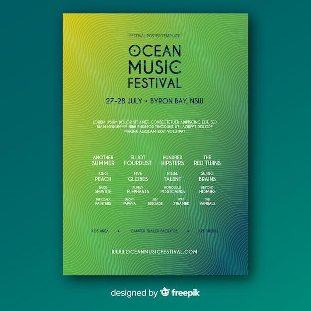 Шаблон плаката фестиваля красочной музыки Бесплатные векторы