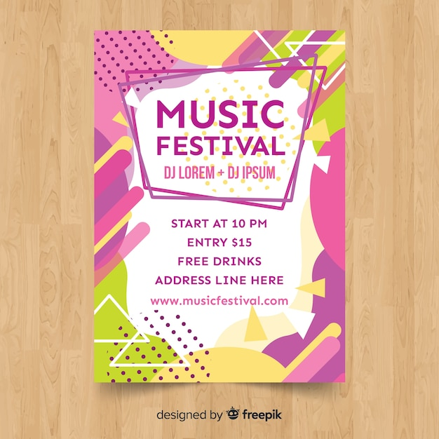 Colorful music festival poster Free Vector