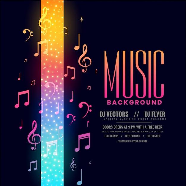 ノートとカラフルな音楽チラシパーティーバックグラウンド 無料ベクター