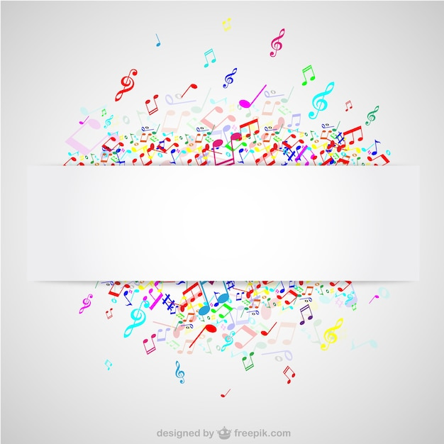 Colorful Music Notes Background Vector Free Download