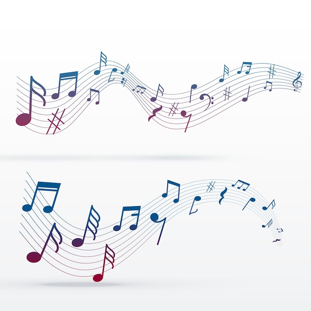 Colorful music notes design Free Vector