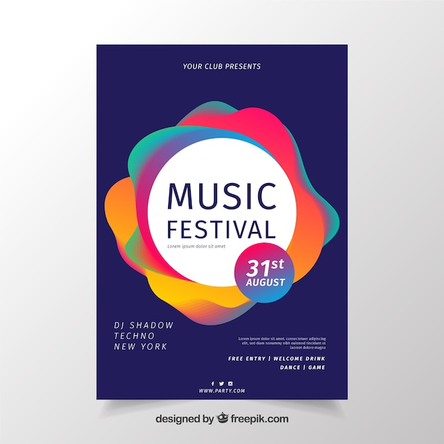 Colorful music poster design Free Vector