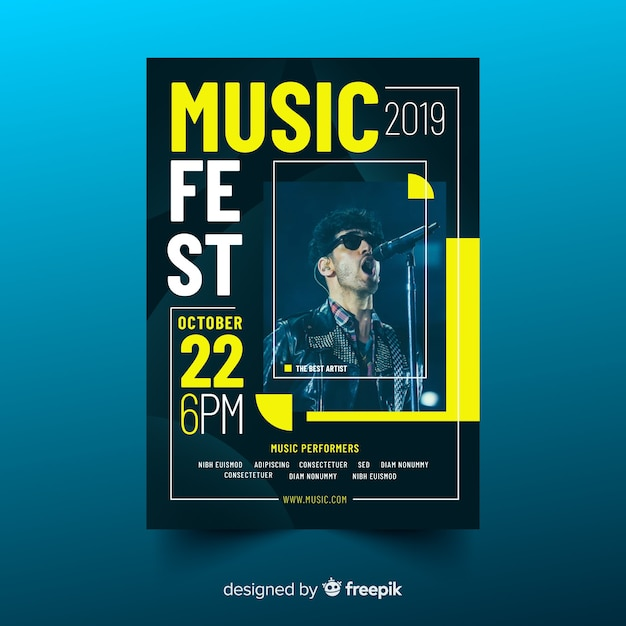 Colorful music poster with photo Free Vector