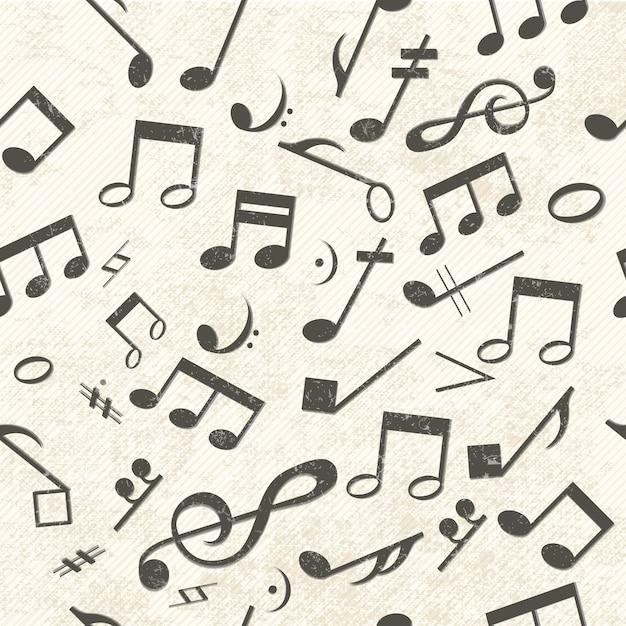 Красочная музыка бесшовные модели, хаотично размещенные ноты и скрипичный ключ Бесплатные векторы