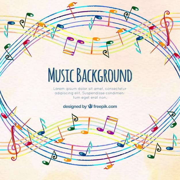 Sfondo musicale colorato con pentagramma Vettore gratuito