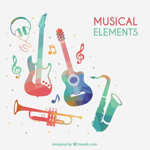 Colorful musical elements Free Vector