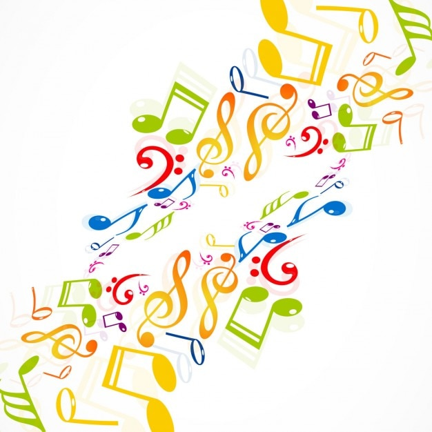 Colorful musical notes background Free Vector
