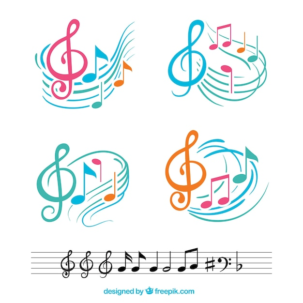 Colorful musical notes with abstract staves Free Vector
