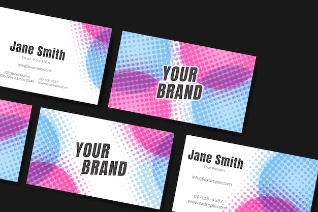 Colorful name card set Free Vector