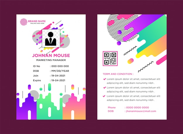Colorful name tag company template with abstract theme vector illustration. Premium Vector