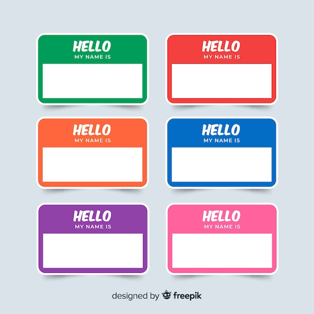 Colorful name tag template collection Free Vector