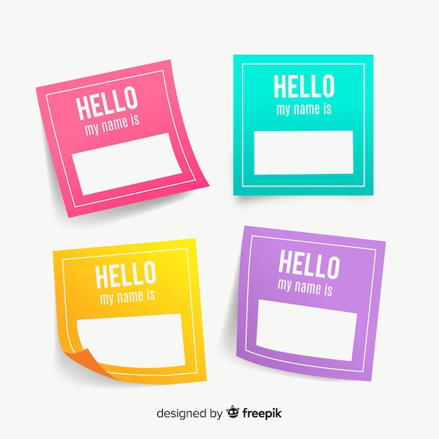 Name Tag Template | Colorful Name Tag Template Collection Vector Free Download