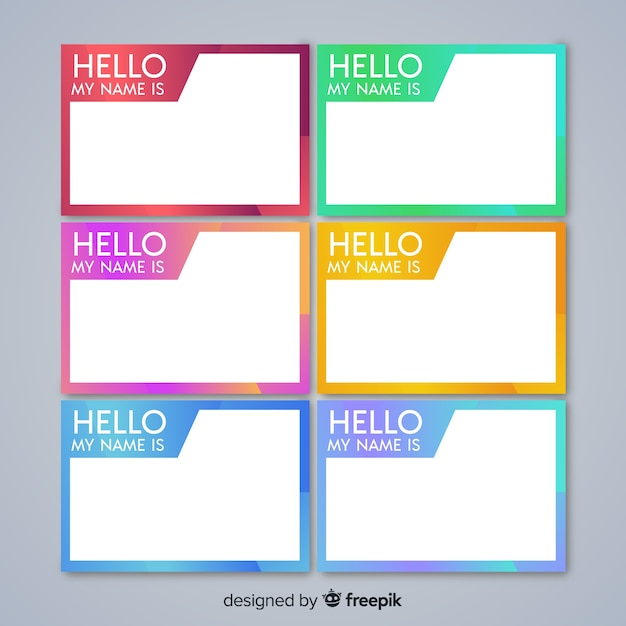 Colorful name tag template collection Vector | Free Download